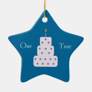 One Year Sobriety Birthday Cake Customizable Blue Ceramic Ornament
