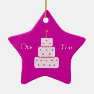 One Year Sobriety Birthday Cake Customizable Pink Ceramic Ornament