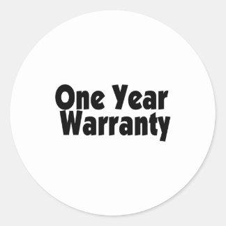 One Year Warranty Classic Round Sticker