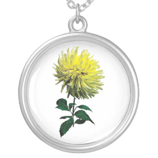 One Yellow Dahlia Round Pendant Necklace