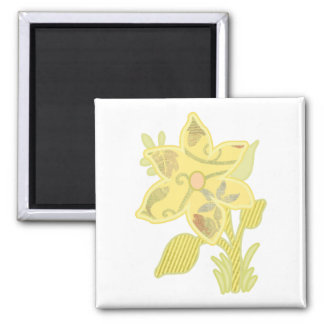 ONE yellow flower 2 Inch Square Magnet