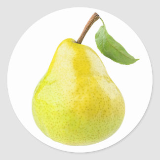 One yellow green pear classic round sticker