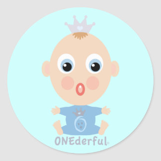 ONEderful BABY Face - blue Classic Round Sticker