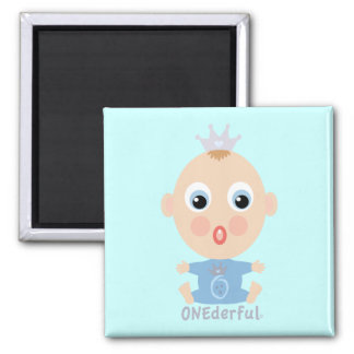 ONEderful BABY Face - blue 2 Inch Square Magnet