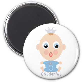 ONEderful BABY Face - blue 2 Inch Round Magnet