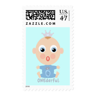 ONEderful BABY Face - blue Postage Stamp