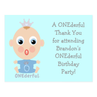ONEderful BABY Face - blue Postcard