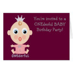 ONEderful BABY Face - pink Greeting Cards