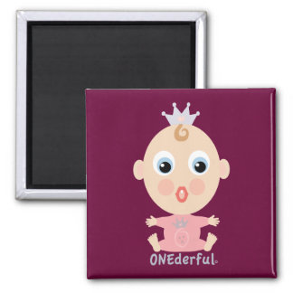 ONEderful BABY Face - pink 2 Inch Square Magnet