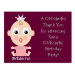 ONEderful BABY Face - pink Post Cards