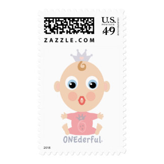 ONEderful BABY Face - pink Postage Stamps