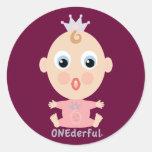 ONEderful BABY Face - pink Round Sticker