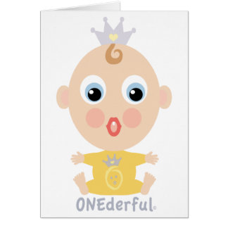 ONEderful BABY Face - yellow Greeting Card