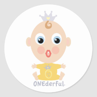 ONEderful BABY Face - yellow Classic Round Sticker