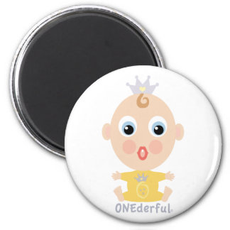 ONEderful BABY Face - yellow 2 Inch Round Magnet
