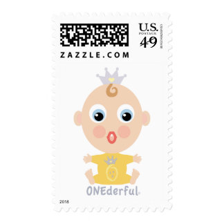 ONEderful BABY Face - yellow Postage Stamp