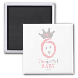 ONEderful BABY (pink) 2 Inch Square Magnet
