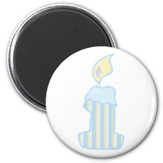 ONEderful Blue Candle 2 Inch Round Magnet