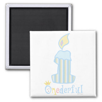 ONEderful Blue Candle 2 Inch Square Magnet