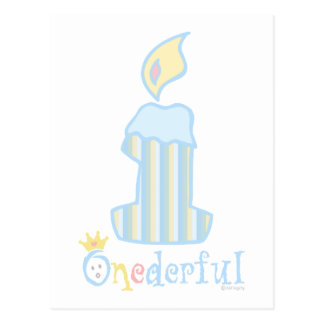 ONEderful Blue Candle Postcard