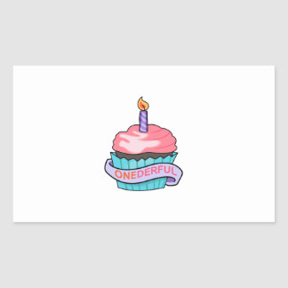 ONEDERFUL CUPCAKE RECTANGLE STICKER