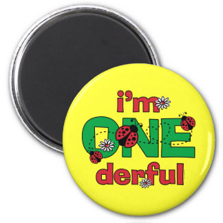 ONEderful Ladybug 1st Birthday 2 Inch Round Magnet
