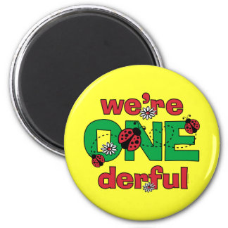 ONEderful Ladybug Twins 1st Birthday 2 Inch Round Magnet