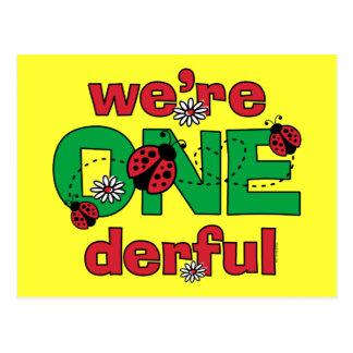 ONEderful Ladybug Twins 1st Birthday Post Cards