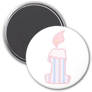 ONEderful Pink Candle 3 Inch Round Magnet