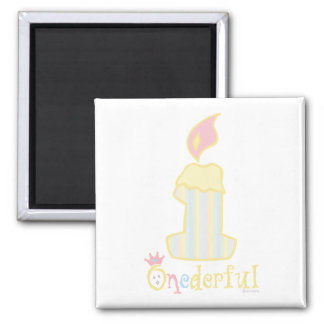 ONEderful Yellow Candle 2 Inch Square Magnet