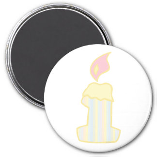 ONEderful Yellow Candle 3 Inch Round Magnet