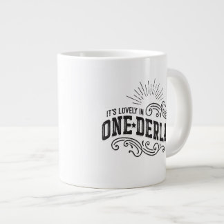 Onederland es taza negra preciosa del texto taza grande