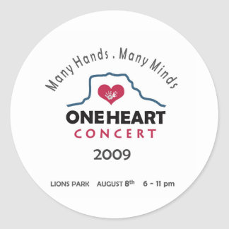 oneheart concert classic round sticker