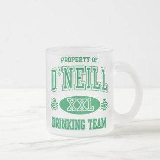 O'Neil Irish Drinking Team 10 Oz Frosted Glass Coffee Mug