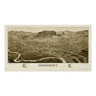 Oneonta, NY Panoramic Map - 1884 Poster