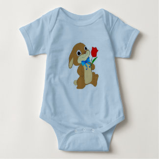 Onezee blue with rabbitt baby bodysuit