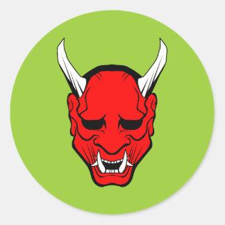 Oni Devil Mask Red Round Sticker