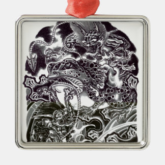 Oni Devils and Toad Metal Ornament