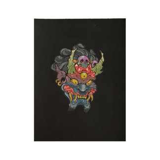 "Oni Mask Wood Poster, 19"" x 14.5"" Wood Poster"
