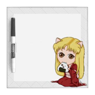 Onigiri Cat Girl In Red Kimono Dry-Erase Board