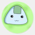 Onigiri - pegatinas verdes pegatina redonda