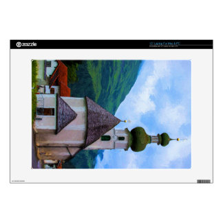 """Onion Domed Church - Austrian Mountain Village Decals For 15"""" Laptops"""