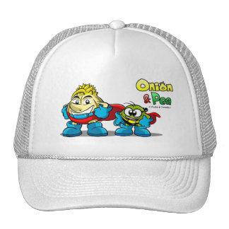 Onion & Pea characters hat. Gorro