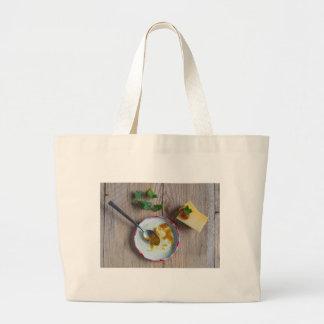 Onion pineapple chutney on rustic wood large tote bag