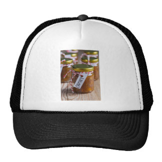 Onion pineapple chutney on rustic wood trucker hat