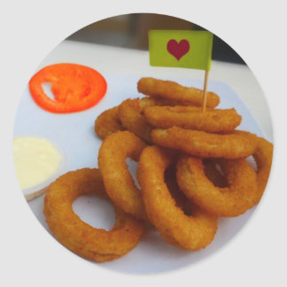 Onion Rings with Mayonnaise and Tomato Classic Round Sticker
