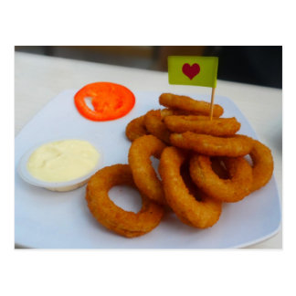 Onion Rings with Mayonnaise and Tomato Postcard