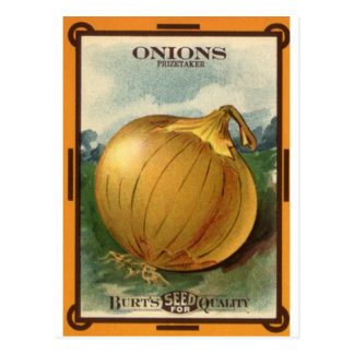 onion seed packet postcard
