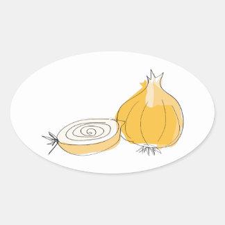 Onion Sketch Oval Sticker