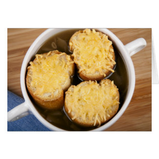 Onion Soup with Cheese Croutons Greeting Card
